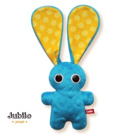Jubilo Doudou Lapin bleu pois jaune